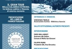 SABATO 07 LUGLIO 2018 - PRESENTAZIONE DEL LIBRO DI FRANCO TUSCANO: Il Gran Tour nella Calabria estrema. Tra bellezza sublime e filoxenìa di omerica memoria